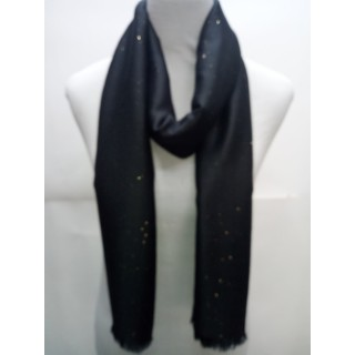 Cotton Plain Glitter Stole - Black