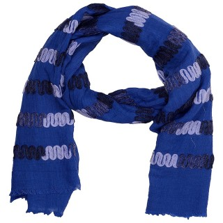 Cotton Chain Work Stole -Royal Blue