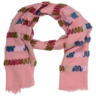 Cotton Chain Work Stole - Pink