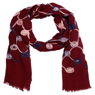 Cotton Chain Work Stole - Maroon