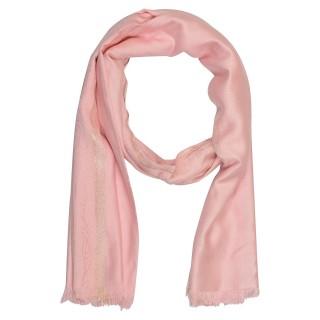 Zari Border Stole - Pink Color