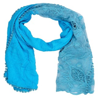 Cotton Half Net Stole- Blue