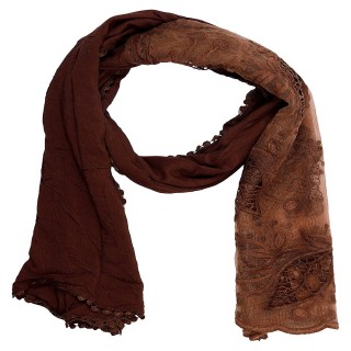 Cotton Half Net Stole- Brown