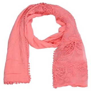 Cotton Half Net Stole-Pink