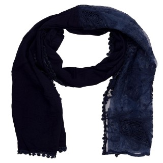 Cotton Half Net Stole- Peacock Blue