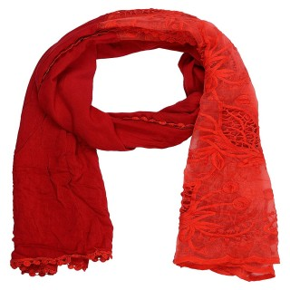 Cotton Half Net Stole- Red