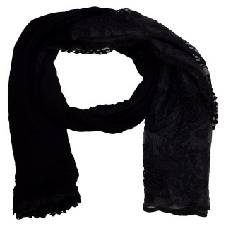 Cotton Half Net Stole- Black