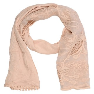 Cotton Half Net Stole- Light Brown