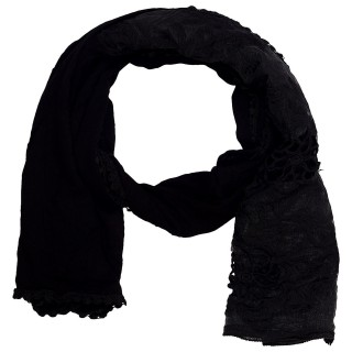 Cotton Half Net Stole- Coal Black