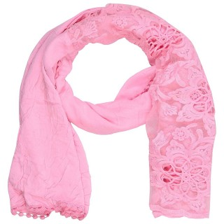 Cotton Half Net Stole- Light Pink