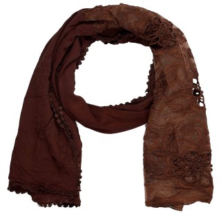 Cotton Half Net Stole- Chocolate Brown