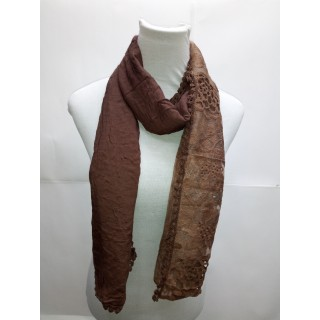 Cotton Half Net Stole- Coffee brown