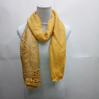 Cotton Half Net Stole- Yellow