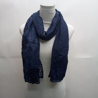 Cotton Half Net Stole- Navy Blue