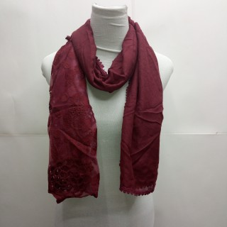 Cotton Half Net Stole- Maroon