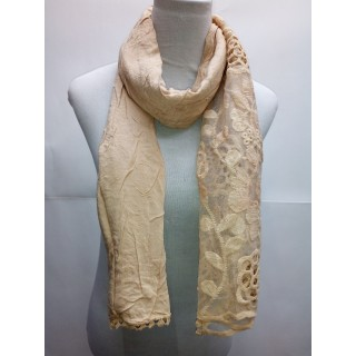 Cotton Half Net Stole- Tan Brown