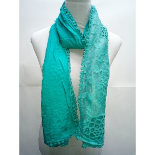 Cotton Half Net Stole-Teal Blue