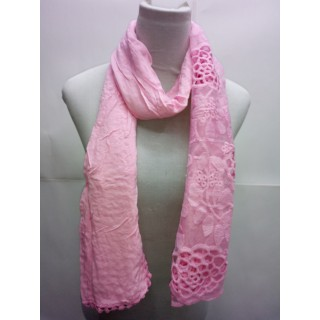Cotton Half Net Stole- Rose Pink