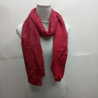 Cotton Half Net Stole- Burgundy Maroon