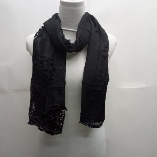 Cotton Half Net Stole- Pitch Black