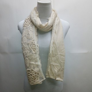 Cotton Half Net Stole- Wheat Brown