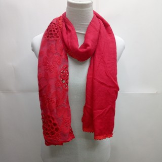 Cotton Half Net Stole- Ruby Red