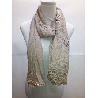 Cotton Half Net Stole- Light Grey