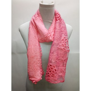 Cotton Half Net Stole- Punch Pink