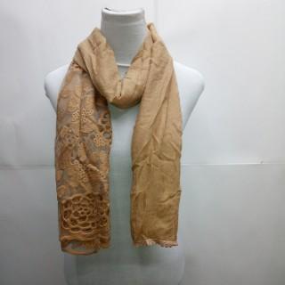 Cotton Half Net Stole- Tortilla Brown