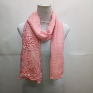 Cotton Half Net Stole- Salmon Pink