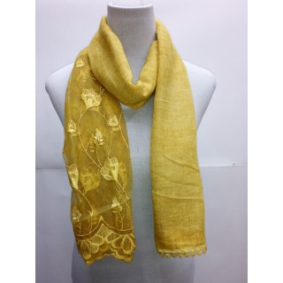 Cotton Half Net Stole- Mustard Yellow