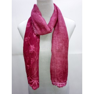 Cotton Half Net Stole- Rosewood Pink