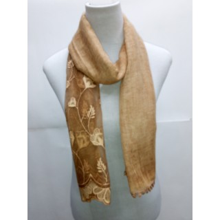 Cotton Half Net Stole- Peanut Brown