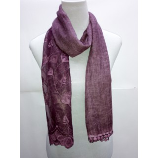 Cotton Half Net Stole- Purple