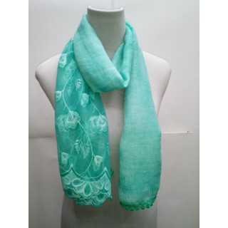 Cotton Half Net Stole- Teal Blue