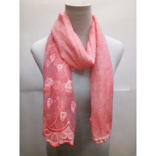 Cotton Half Net Stole- Peach