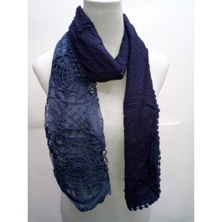 Cotton Half Net Stole- Dark Blue
