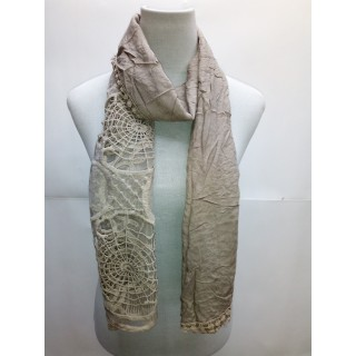 Cotton Net Stole- Grey