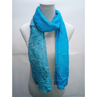 Cotton Half Net Stole- Sky Blue
