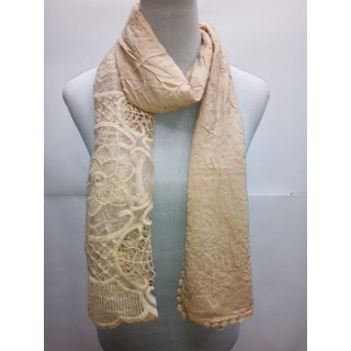Cotton Net Stole- Light Brown