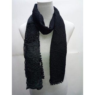 Cotton Half Net Stole- Ink BLack