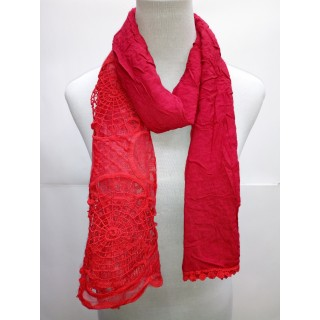 Cotton Net Stole- Cherry Red