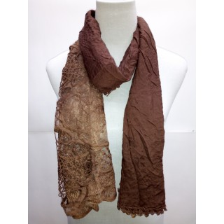 Cotton Net Stole- Dark Brown