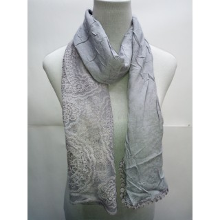 Cotton Net Stole- Light Grey