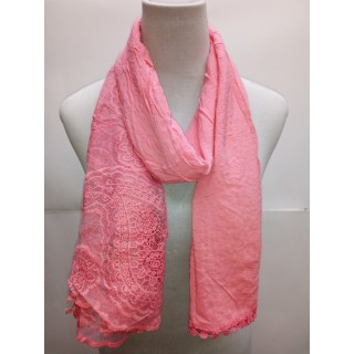 Cotton Net Stole- Light Pink