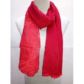 Cotton Net Stole- Ruby Red
