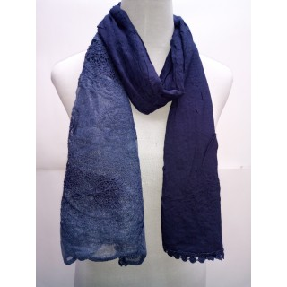 Cotton Net Stole- Navy Blue