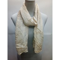 Half Net Cotton Stole- Light Brown