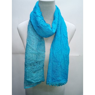 Cotton Net Stole- Light Blue