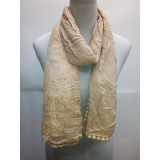 Net Cotton Stole- Light Brown